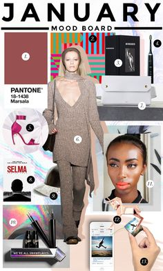 January Mood board: 13 things we're loving this month! Pantone's 2015 color of the year: Marsala, Knitwear, Party Heels, + Glossier Liquid Foil Liner, & more | StyleCaster