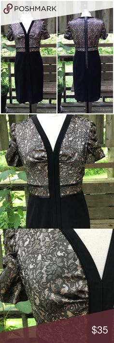 Etcetera black & gold Lace Jubilee Dress Size 8. Shorting on sleeves. Grosgrain ribbon trim at bodice. Rear zipper. Lined. Rear slit. Polyester, nylon, spandex. EUC Etcetera Dresses