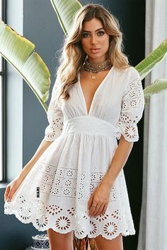 Pure White Hollow-out Puff Mini Dress – Beetsweeti Cute Dresses, Beautiful Dresses, Casual Dresses, Short Dresses, Summer Dresses, Mode Outfits, Stylish Outfits, Dress Outfits, Fashion Dresses