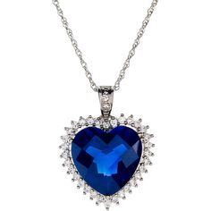 FINE JEWELRY Lab-Created Blue & White Sapphire Heart Pendant Necklace ($100) ❤ liked on Polyvore featuring jewelry, necklaces, accessories, blue, colares, necklaces & pendants, blue pendant necklace, heart shaped pendant, white sapphire necklace and pendants & necklaces