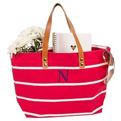 Women's Monogram Red Striped Tote with Leather Handles - A, Size: Large, Red - A