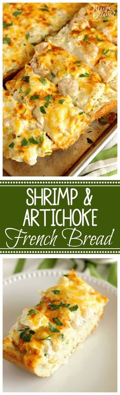 Shrimp & Artichoke French Bread - A perfect appetizer madewith a cheesy, creamy topping filled with shrimp and artichokes!