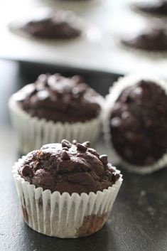 Curb your sweet tooth with these Homemade Chocolate Protein Muffins! Only 95 calories and 3 grams of protein each! Healthy Protein Snacks, Healthy Muffin Recipes, Best Breakfast Recipes, Gourmet Recipes, Healthy Muffins, Protein Recipes, Protein Foods, Protein Bars, Healthy Desserts
