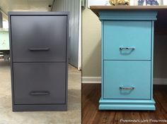 Trim out an ugly, old metal file cabinet. diy filing cabinet desk, diy, home decor, home office, painted furniture