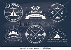 Set of vintage summer camp badges and other outdoor logo's, emblems and labels - stock vector