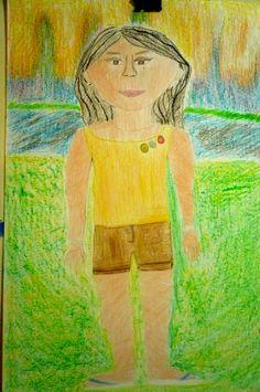"""""""Autorretrato"""". Dibujo con crayones y lápiz color. Victoria P. G."""