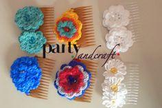 crochet flower hair clip handmade @Partyandcraft