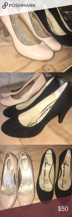Black and nude heels Black ones worn twice , nude worn once MAKE OFFERS (for one pair so comment what color you would like if purchasing!) PINK Victoria's Secret Shoes Heels