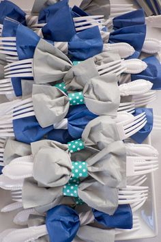 Bow tie napkin and utensils! Cute baby boy shower idea.