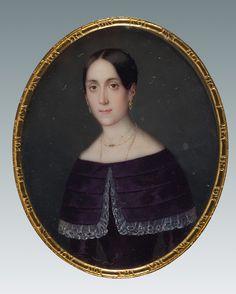 Círculo de Florentino Decraene (1793-1854) Retrato femenino Acuarela y guache sobre marfil. 65x50 mm