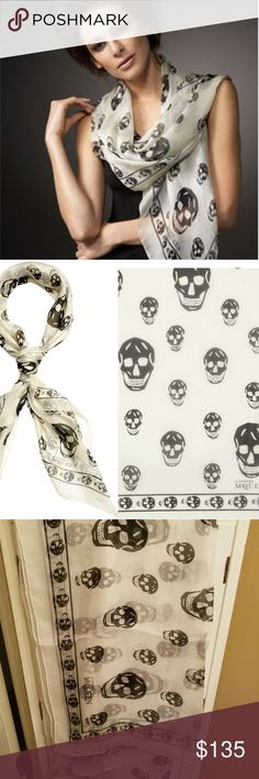 New Alexander McQueen White Black Silk Scarf MCQ New with tags Alexander McQueen white and black silk chiffon skull scarf with hand stitched edge; features repeat skull pattern and skull border. Dimensions approximately when I measured 50 inches x 50 in Material 100% Silk Product code 1106403Q0129260  WHT / BLK Skulls Foulard   Classic Silk Chiffon Skull Scarf $ 345 #skull #mcq #winter #scarves #silk #AlexanderMcQueen #scarf #shawl #stole #wrap #coat #jacket #Amq #skulls #designer #clothes…