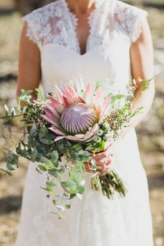 King protea bouquet, Australian rustic farm wedding | Photography by Jason Vandermeer