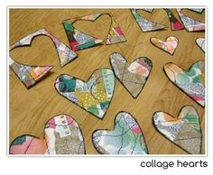 make collage paper and turn into heart embellishments - www.erinbassett.com