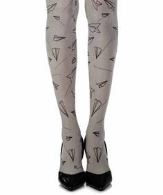 """Taking Off"" Grey One Size Print Tights 2"