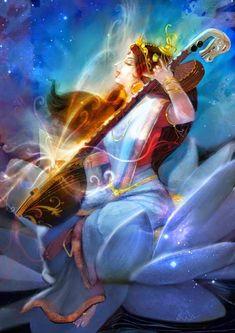 Godess Saraswathi by Rajesh Nagulakonda Saraswati Painting, Lord Shiva Painting, Krishna Painting, Indian Goddess, Goddess Art, Divine Goddess, Arte Krishna, Saraswati Goddess, Saraswati Mata