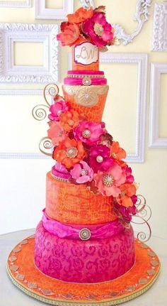 Bright pink and orange wedding cake Beautiful Wedding Cakes, Gorgeous Cakes, Pretty Cakes, Amazing Cakes, Crazy Cakes, Fancy Cakes, Cake Original, Indian Wedding Cakes, Indian Weddings