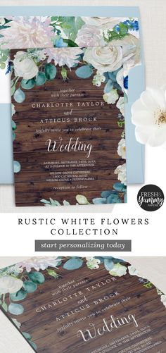 Rustic White Flowers Collection by Fresh and Yummy Paperie. The elegant country floral wedding invitation features a faux brown wood background with soft ivory and white peonies, roses and chrysanthemum and watercolor blue green eucalyptus. Click to customize and purchase yours today. Exclusively on Zazzle.com. #freshandyummypaperie #wedding #weddingstationery Beautiful Wedding Invitations, Floral Wedding Invitations, Wedding Stationery, Backyard Wedding Invitations, Invites, Trendy Wedding, Rustic Wedding, Dream Wedding, Fall Wedding