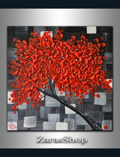 Red cherry blossom tree painting original modern by ZarasShop