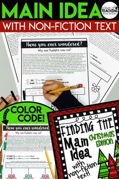 "Get 12 different {Christmas-themed} non-fiction reading passages for students to use while they practice finding the main idea and supporting details. These high interest and engaging non-fiction topics make learning about main idea fun and interesting for students!  Passages are written about topics students may ""wonder"" about. The main idea is sometimes found in the first sentence, but many of these passages require students to do further reading to determine the main and details.  RI.4.2"