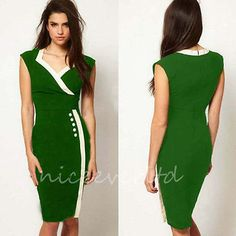 Womens Vintage Pinup Celeb Style Bodycon Party Pencil Dress E682 Green Size XL