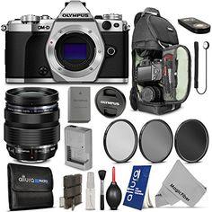 Olympus OM-D E-M5 Mark II Digital Camera (Silver) + Olympus M Zuiko Digital ED 12-40mm f/2.8 Pro Lens + Essential Accessory Kit + MagicFiber Microfiber Cleaning Cloth #olympus