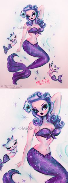 Vintage pinup inspired mermaid with victory rolls in her purple hair. She has a purple outfit and tail and is surrounded by cute cat mermaids! Original Art by Claudette Barjoud, a.k.a Miss Fluff. www.missfluff.com #mermaids #mermaidart #pinupmermaid #missfluff