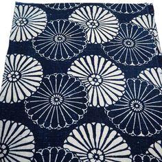 Antique Japanese Katazome Cotton Textile Square, Unique Chrysanthemum Design, From Old Futon Cover,
