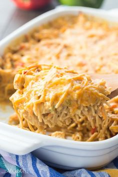 This Healthier Creamy Chicken Spaghetti Bake is a healthier version of a Pioneer Woman classic -- completely homemade with no cream soups! It's an easy make ahead and freezer friendly meal. Includes how to recipe video.   easy recipe   casserole recipe   make ahead   meal prep   kid friendly