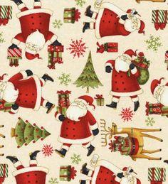 Wilmingon Prints Debbie Mumm Santa's Gifts Cream Santa Claus All Over