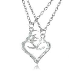 Her Buck His Doe Heart Necklace 2 PC Set Browning Interlocking Deer Cute Couple Necklaces, Couple Jewelry, Jewelry Rings, Jewelry Accessories, Women Jewelry, Jewlery, Her Buck His Doe, Luxury Jewelry, Monet