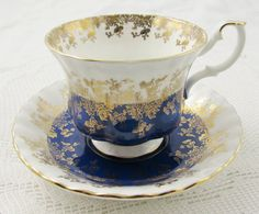 Royal Albert Blue Regal Series Tea Cup and Saucer, Vintage Bone China
