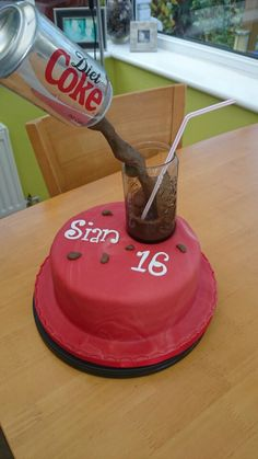 Gravity coke can Coke Cake, Diet Coke, 7th Birthday, Cakes, Canning, Cola Cake, Coke Cola Cake, Cake Makers, Kuchen