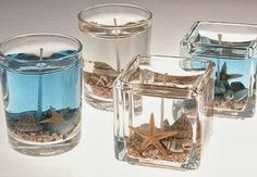 Beautiful DIY Beach Gel Candles that Capture Sea and Sand Whether you are having a wedding on the coast..or simply a summery beach themed wedding, these do-it-yourself beach gel candles would be a great favor or addition to your room decor! The completed product is a beautiful, professional look..and the project is so easy! You can use clear or blue gel wax, even add a scent!