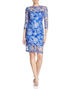 Tadashi Shoji Three-Quarter Sleeve Corded Embroidery Dress | Bloomingdale's