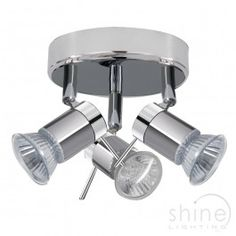 3 light IP44 rated bathroom spot fitting Searchlight 7443CC Ceiling 3 light spot with multi angle spot lights. Finished in chrome and satin silver. Perfect for use in bathrooms or kitchens.   3 x 35w GU10 Mains Halogen Lamps  Height: 13cm  Dia: 18cm  IP Rating: IP44 Rated £47.04