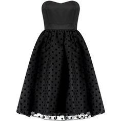 Boutique Violet Polka Dot Bandeau Midi Dress (€42) ❤ liked on Polyvore featuring dresses, midi dress, bandeau dress, calf length dresses, mid calf dresses and dot dress
