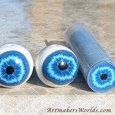 Blue iris eyeball polymer clay cane