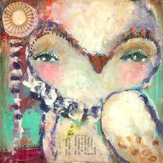 Discover. By Juliette Crane. Http://juliettecrane.com #juliettecrane #serendipityclass #mixedmedia #owl