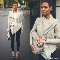 Amazing bone-colored leather jacket and ankle-strap heels