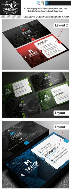 Creative Corporate Business Card Template PSD. Download here: http://graphicriver.net/item/creative-corporate-business-card/15897469?ref=ksioks