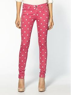 Dusty rose dotted denim.
