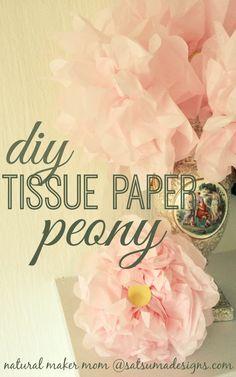 DIY jumbo tissue paper peony. #springdecor