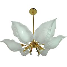 1stdibs | Hollywood Regency Murano Art Glass Leaf Brass Chandelier