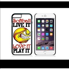 Softball phone case or ipod case ‼️‼please specify which case you need this for & which one you want to order I have all in stock ‼️‼️ one-piece ultra thin case fits easily onto your phone providing protection to back and sides.  •I have  iPhone 6S or 6 6PlusS or 6 plus & 5, 5c, or Samsung 2,3,4 or 5 or 6, 6 edge & note 4 & 5 or iPod touch 5 or 6 •Ultra thin, adds no bulk to your phone ❤️❤️let me know what name or initials you want on the case as each can be personalized to fit your…