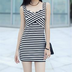 Stripes Print Cross Front Vest Dress 050806