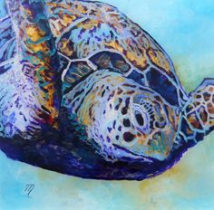 Honu 2 Original Sea Turtle Reverse Acrylic Painting by Marionette from Kauai Hawaii blue teal gold purple turquoise
