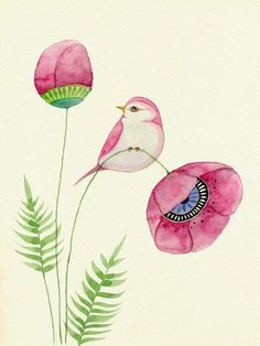 Embroidery Pattern of Pink Poppies and Bird. Artist Coleen Parker. This IS Beautiful!! This COULD be adapted into Embroidery work? I'm thinking OUT OF THE BOX!! This Artist has other Beautiful work, if you're interested. jwt