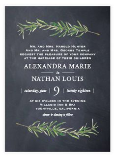 Simple And Traditional Wedding Invitation Featuring Sprigs Of Rosemary. Botanical, Illustrative, Rustic, Grey Wedding Invitations From Minted By Independent Artist Erin Deegan. Wedding Invitation Etiquette, Grey Wedding Invitations, Traditional Wedding Invitations, Rehearsal Dinner Invitations, Wedding Favor Tags, Rehearsal Dinners, Bridal Shower Invitations, Wedding Rehearsal, Wedding Stationary