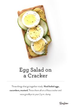 Egg Salad on a Cracker. Skip the bread for an elevated take on this classic dish. Serve at your next party or as a healthy snack before dinner.
