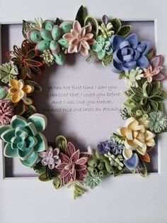 Quilling Paper Art. Succulent Wreath Gift.Deep Framed Art.3D Handmade. Personal Gift.Wedding Gift. Anniversary Gift. Birthday Gift for Everyone! All my artworks are made to order. Once it is purchased, the order is placed and it takes me about 3-5 days to make it specifically for